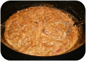 Chicken all shredded and sour cream added.